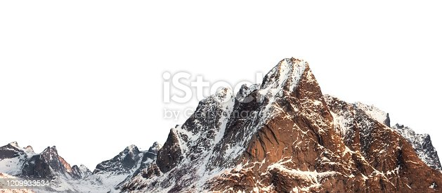Snow mountain with shining on winter at Lofoten islands on white background