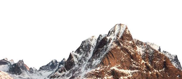 snow mountain with shining on winter at lofoten islands - mountain foto e immagini stock