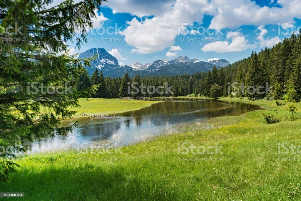 Snow mountains and river, Durmitor natioanl park, Montenegro stock photo