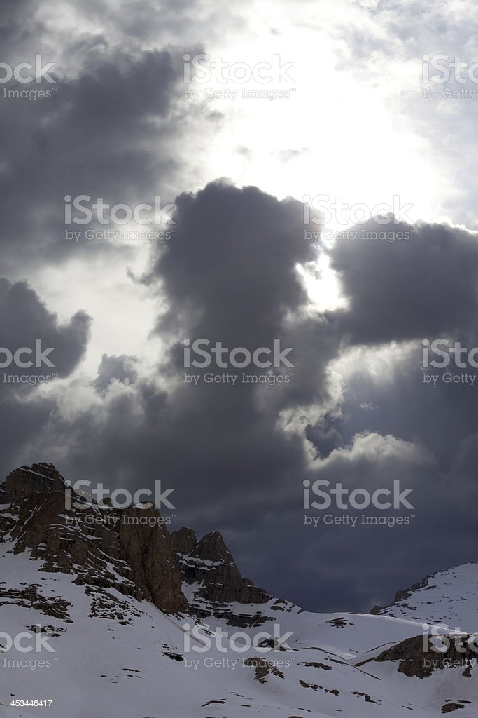 Snow mountains before storm royalty-free stock photo