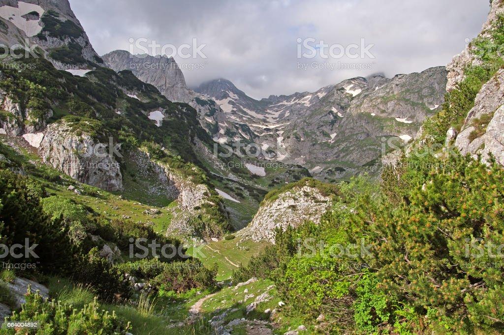 Snow mountains in Durmitor national park, Montenegro stock photo
