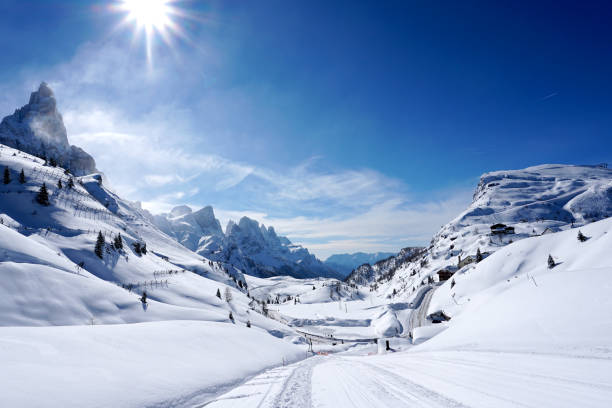 Snow mountains landscape sunny day stock photo
