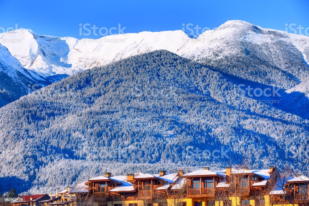 snow mountains panorama in ski resort Bansko stock photo