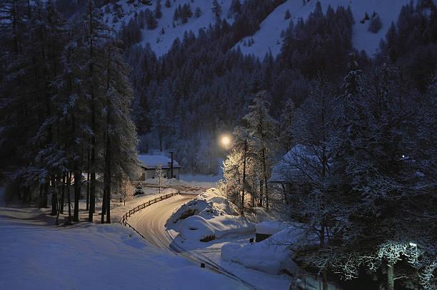 Snow night stock photo