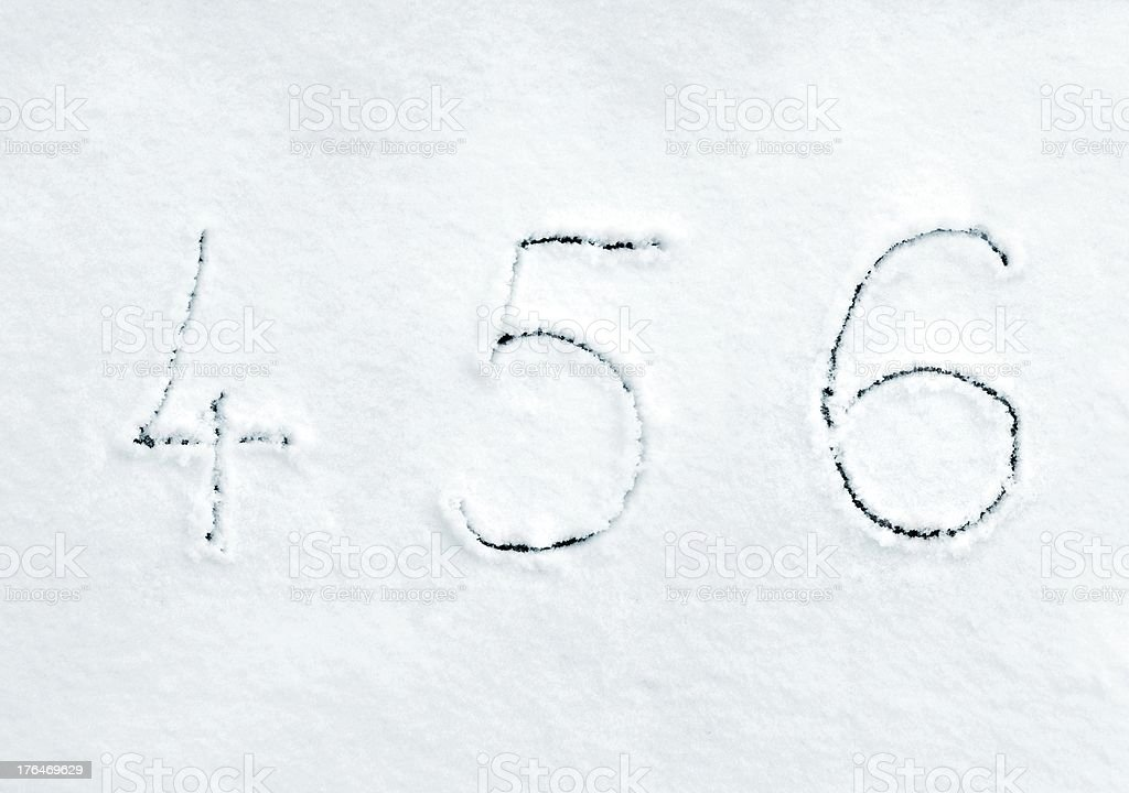 Snow numbers handwriting font 4 5 6 royalty-free stock photo