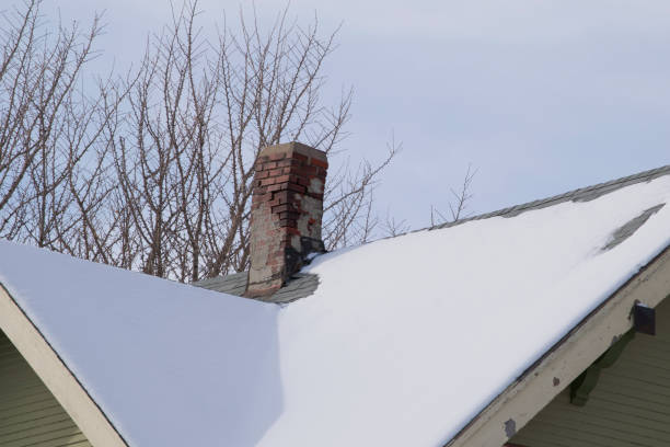 snow on a house roof with damaged brick chimney - dept stock pictures, royalty-free photos & images