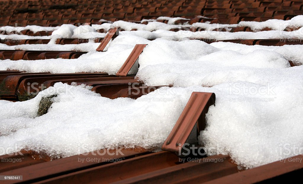 snow on a roof top royalty-free stock photo