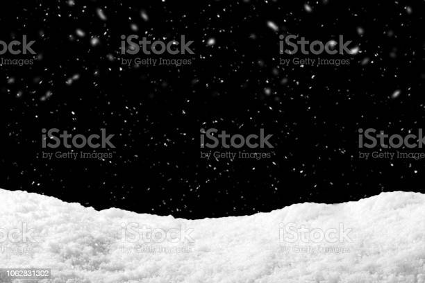 Photo of Snow on black background with snowfall. Snowdrift backdrop in winter season.