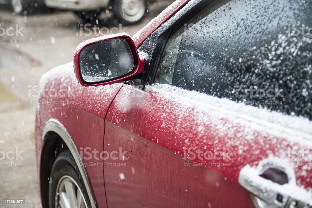 snow on car royalty-free stock photo