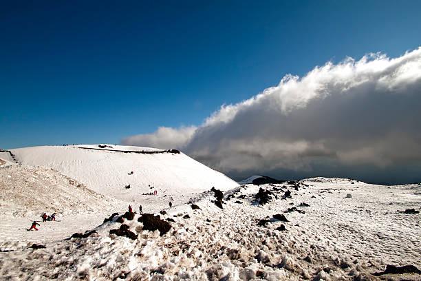 Snow on Etna stock photo