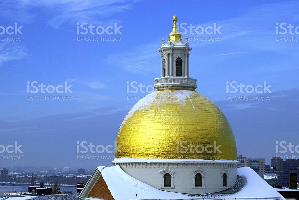 snow on gold stock photo