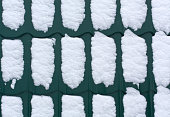 Snow on green metal roof texture. Architectural background.