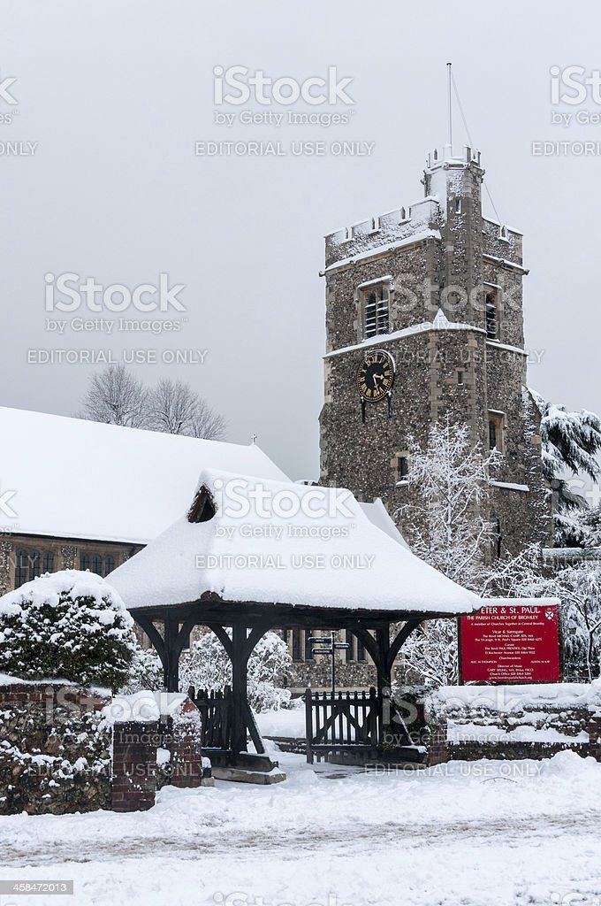 Snow on Hill, Bromley, Kent stock photo