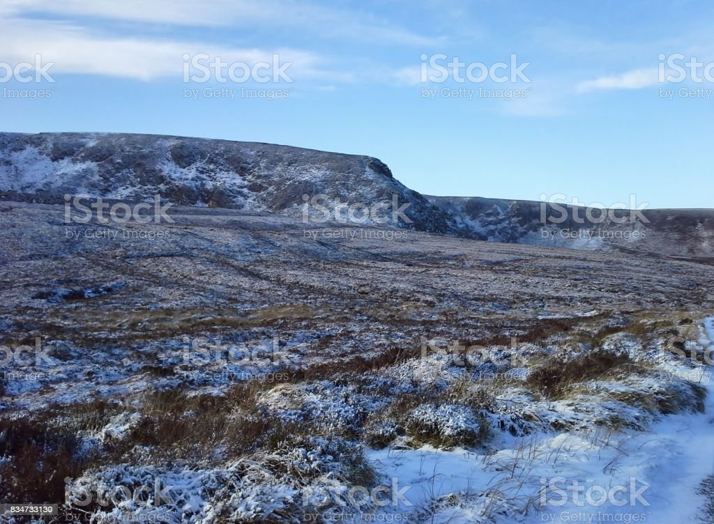 Snow on Hills of Lough Bray, Sally Gap, Co. Wicklow stock photo