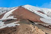 snow on lava stone on mountain etna