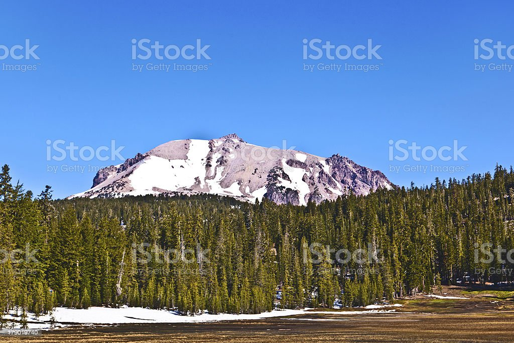 snow on Mount Lassen in the national park royalty-free stock photo