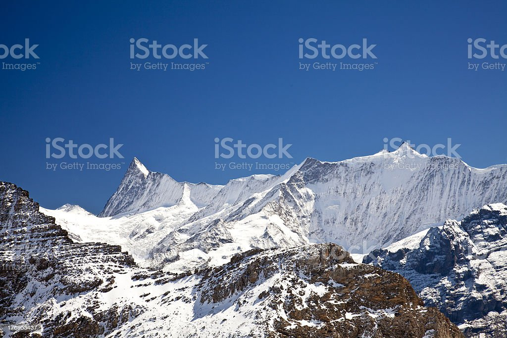 Snow on mountains in the alps royalty-free stock photo