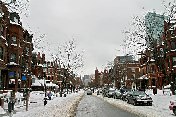 Snow on Newbury Street stock photo