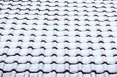 tiled ceramic roof under snow background texture