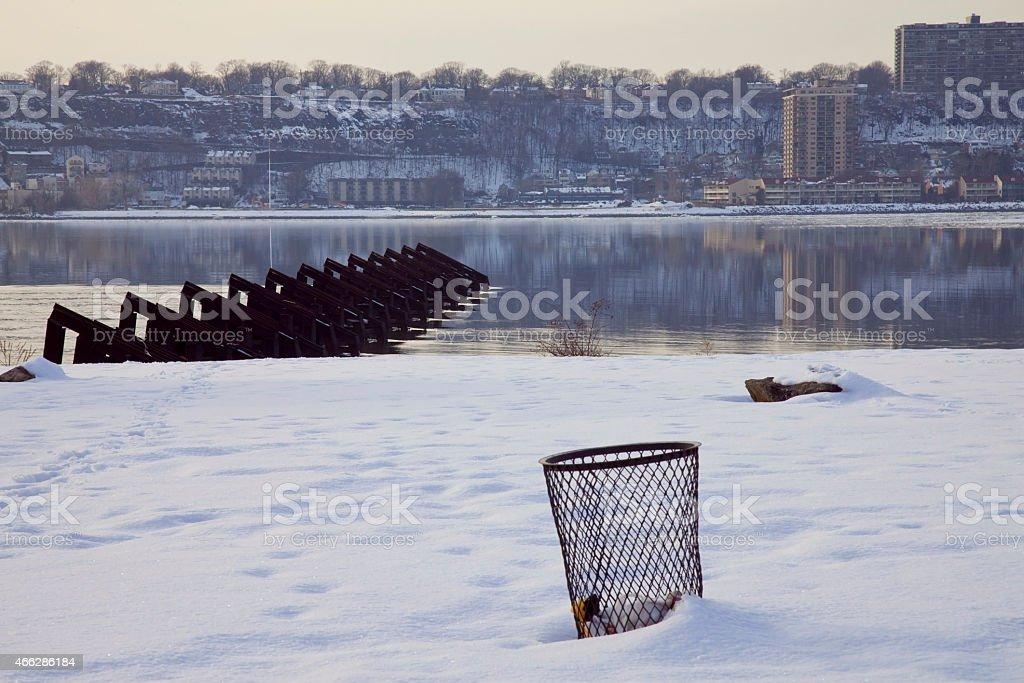 snow on Riverside park stock photo