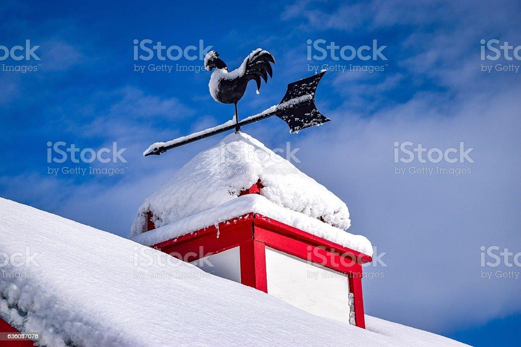 Snow on the barn stock photo