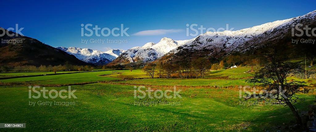 Snow on the Fells stock photo