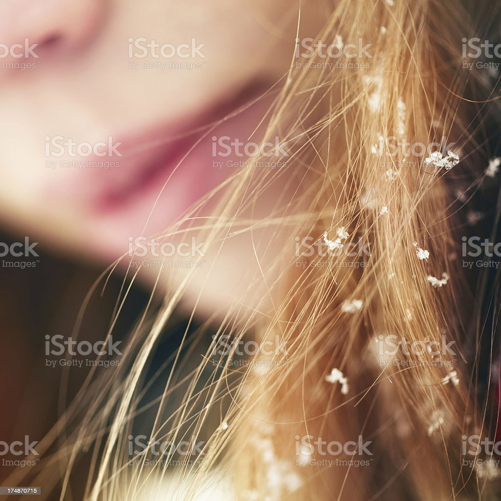 Snow on the hair royalty-free stock photo