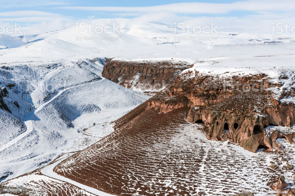 snow on the mountain at Eastern of Turkey stock photo