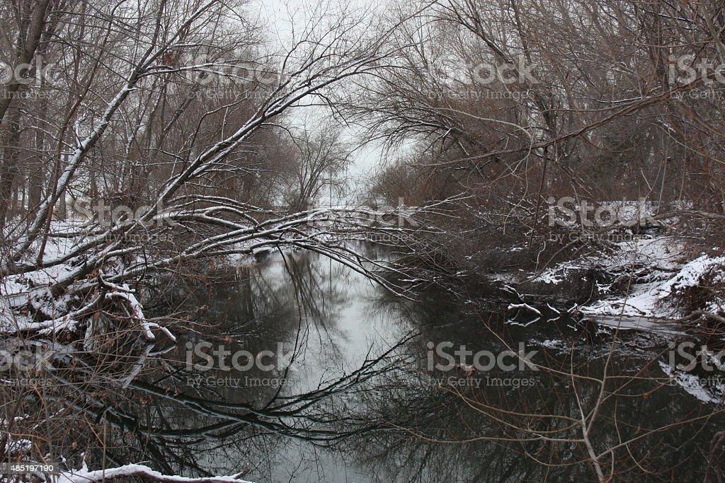 Snow on the Provo River, Utah stock photo