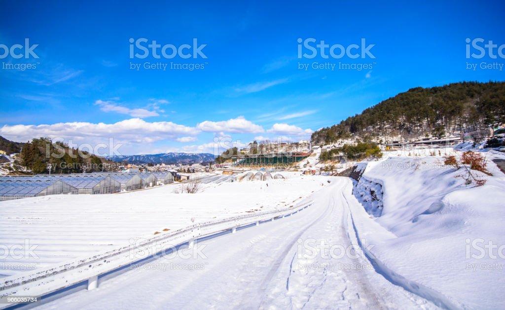 Schnee auf der Straße - Lizenzfrei Anhöhe Stock-Foto