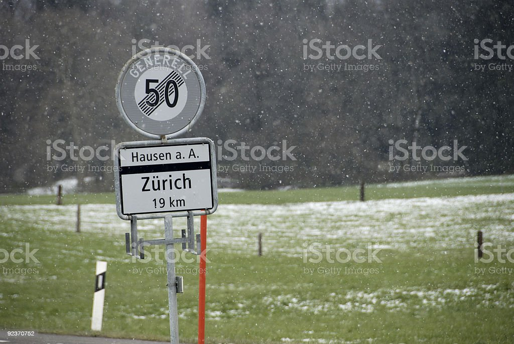 Snow on the road royalty-free stock photo