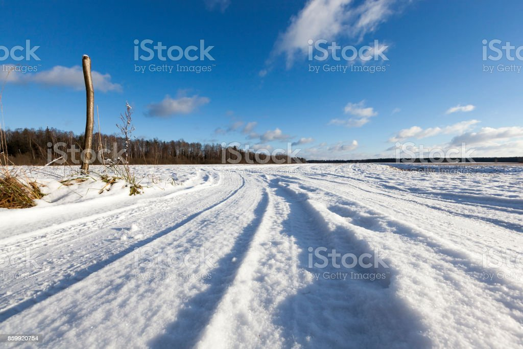 Snow on the road, winter stock photo