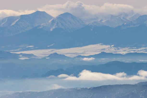 Snow on the Sangre de Cristo Mountains stock photo