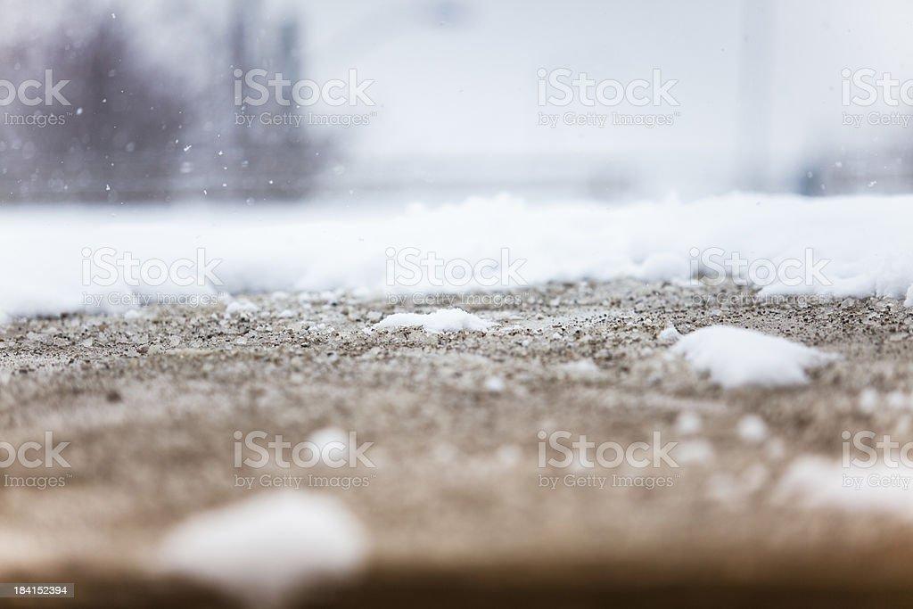Snow on the sidewalk royalty-free stock photo