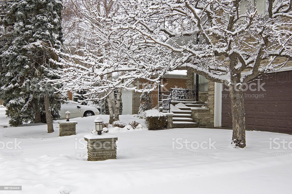 Snow on the street royalty-free stock photo