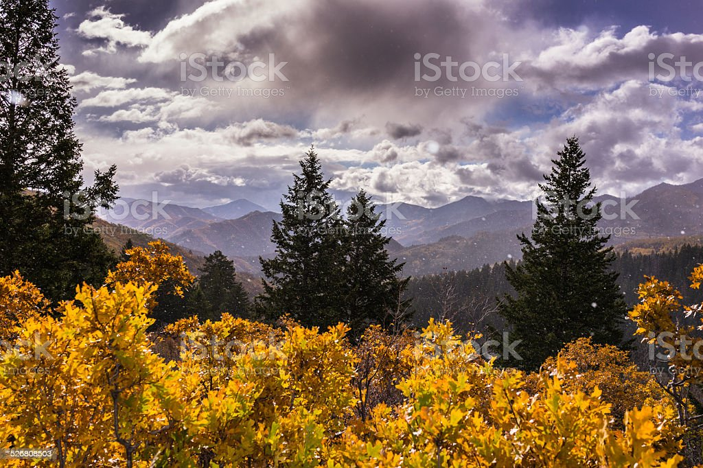 Snow on the Wasatch Mountains along the Alpine Loop (Utah) stock photo