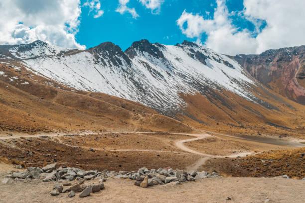 Snow on top of Nevado de Toluca stock photo