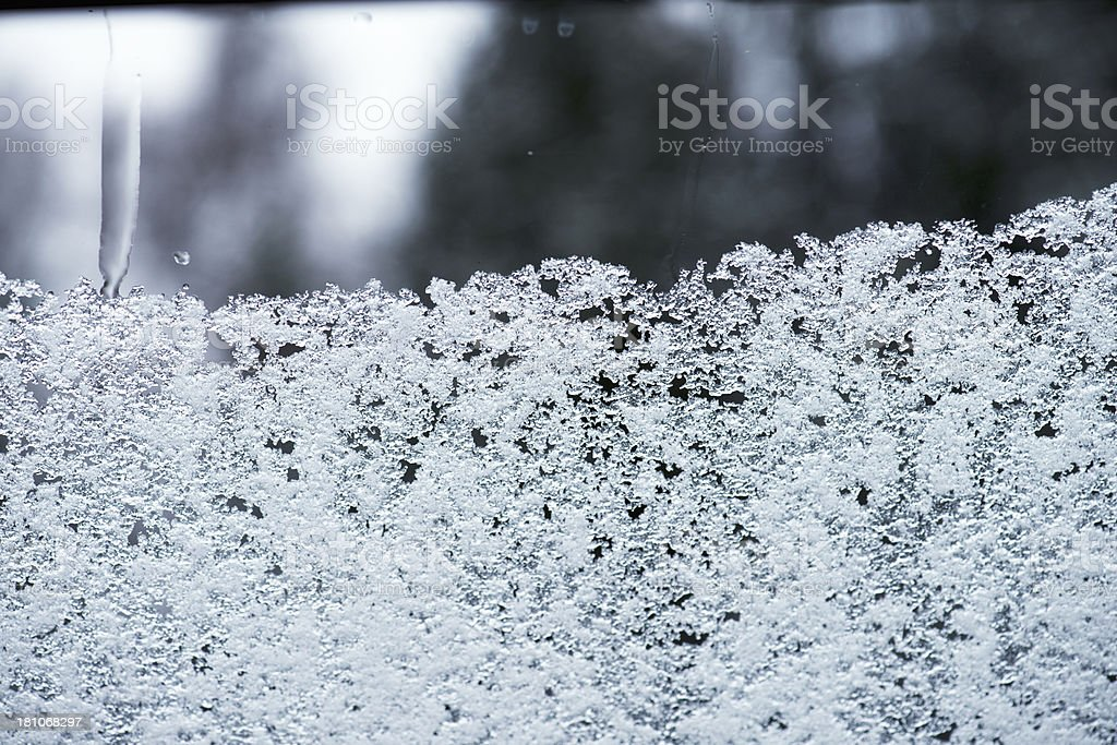 Snow on window royalty-free stock photo