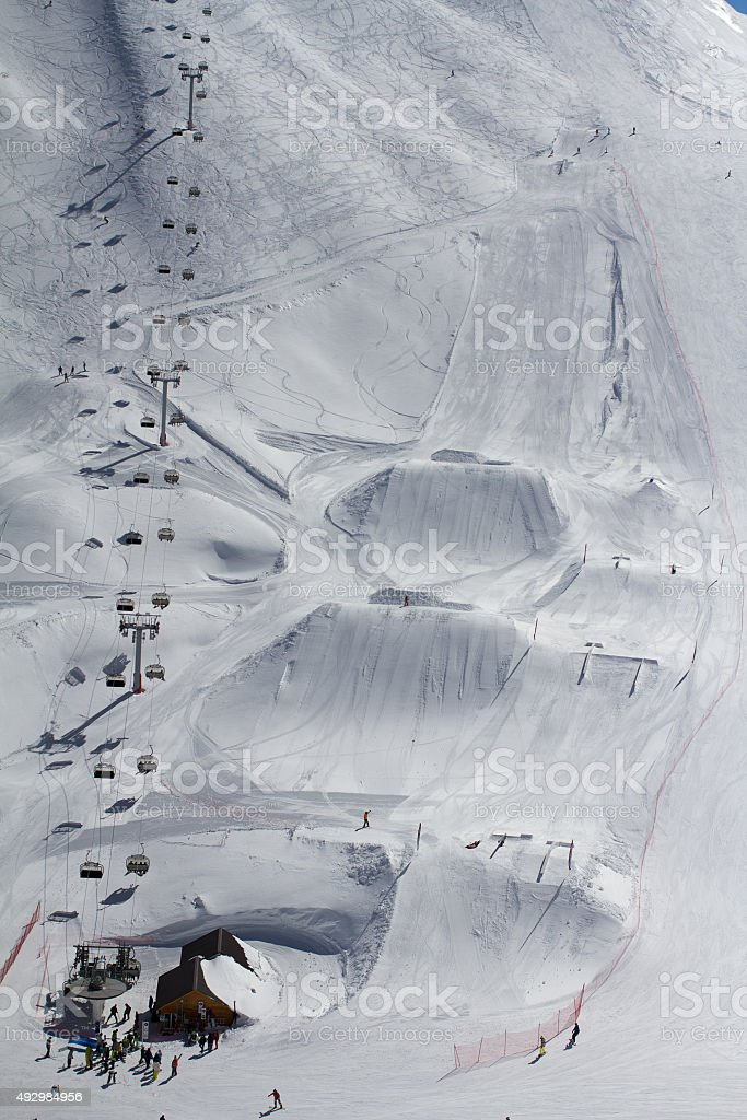 Snow park in mountain ski resort stock photo