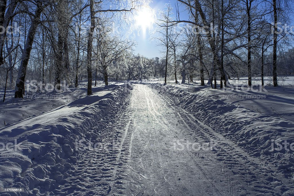 Snow path and Sun royalty-free stock photo