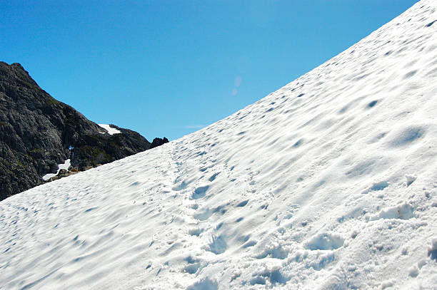 snow path to the top stock photo