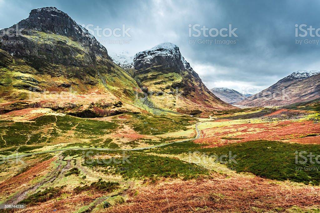 Snow peak of mountains in Scotland stock photo