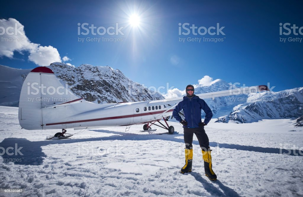 Snow Plane Landing on Ruth Glacier in Denali National Park. stock photo
