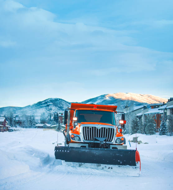 Snow plow Colorado Highway USA Snow plow Colorado Highway USA routt county stock pictures, royalty-free photos & images