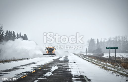 536171925 istock photo Snow plow on a highway 885515766