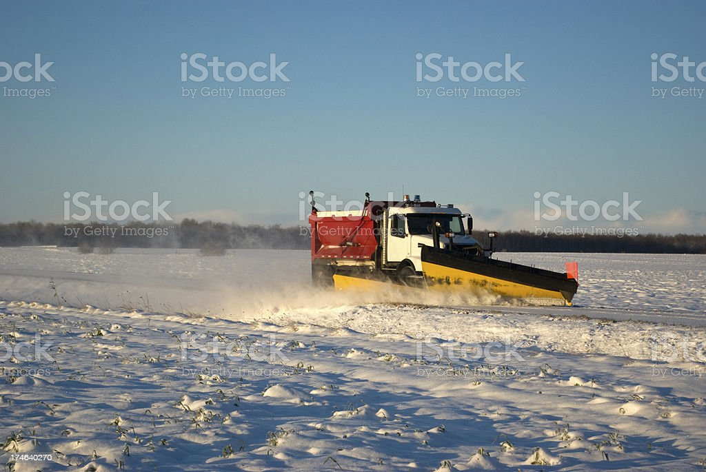 Snow Plow on Side Road royalty-free stock photo