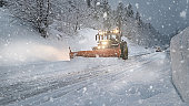 Snow Plow Plowing the Highway During Snow Storm