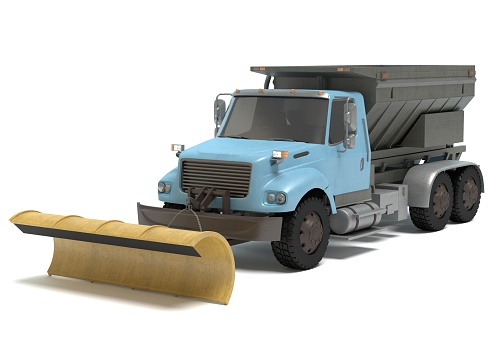 3d illustration of a snow plow truck