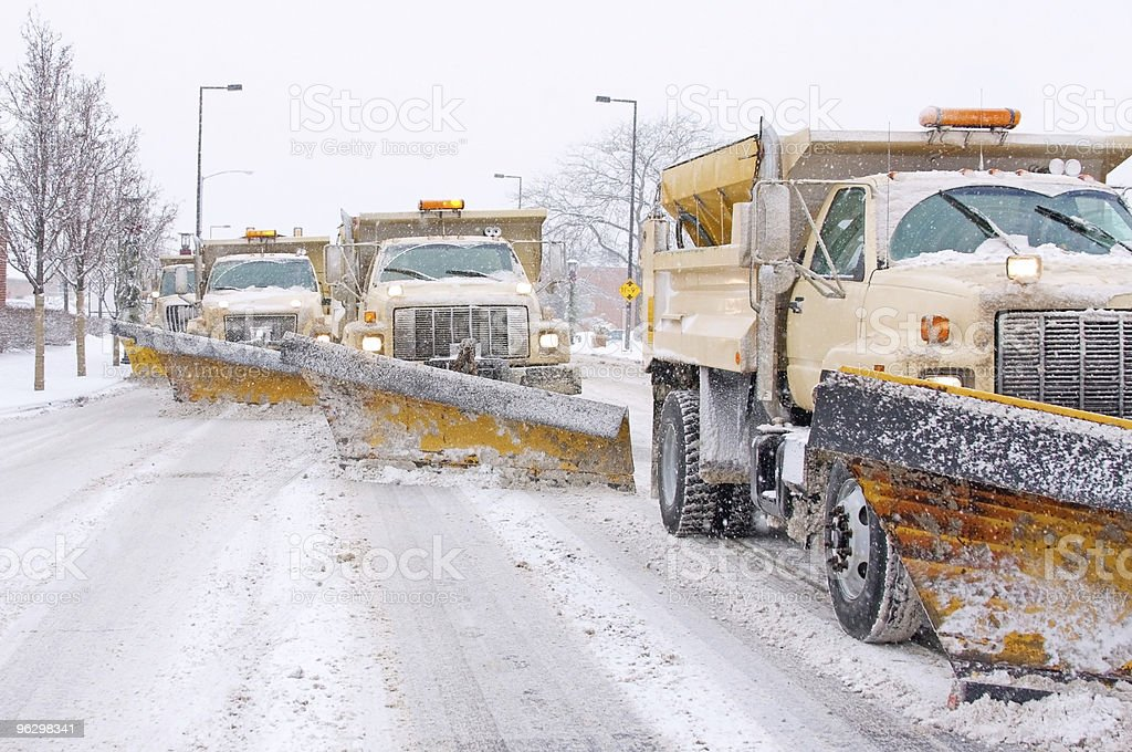 Snow Plowing stock photo