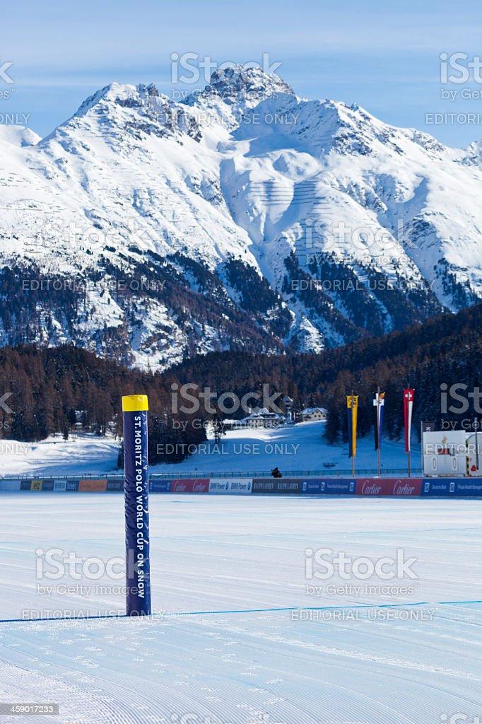 Snow Polo Goalpost and Mountain Background stock photo